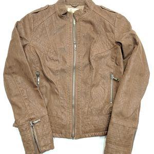 NWOT Women's Suede-ish Leather Motto Jacket SZ S